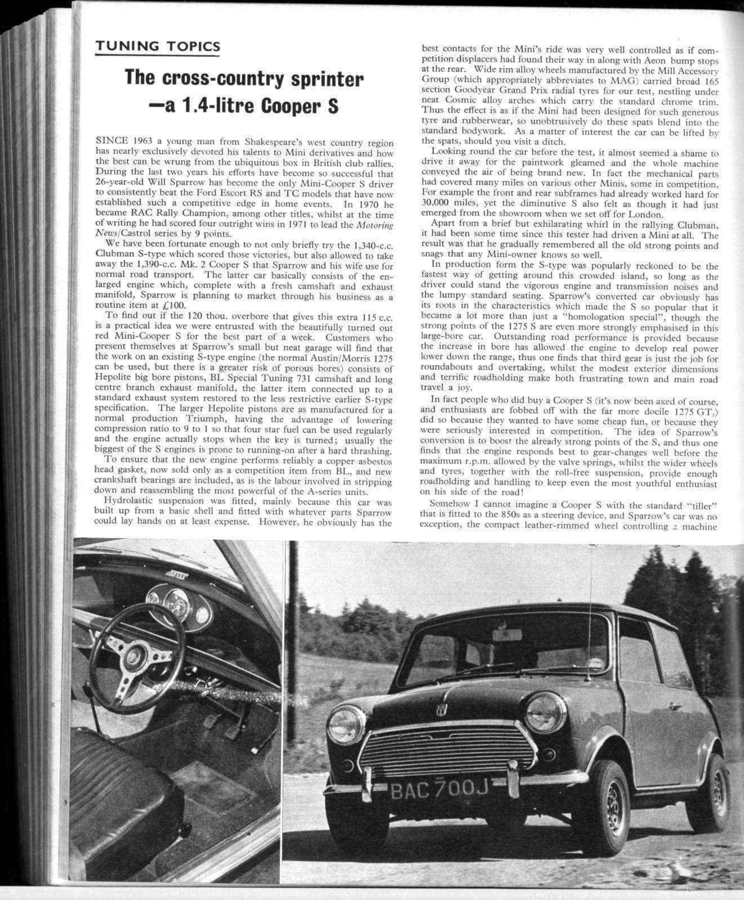 Tuning topics: the cross-country sprinter—a 1 4-litre Cooper S