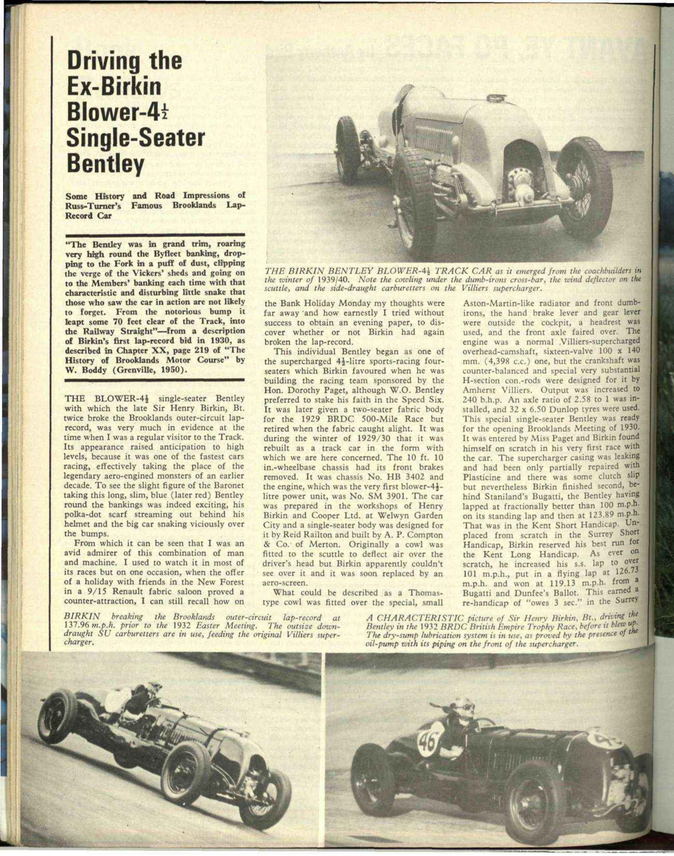 Driving The Ex Birkin Blower 4 Single Seater Bentley Motor Sport Wiring Diagram Further 2 Way Switch On Read Magazine Archive