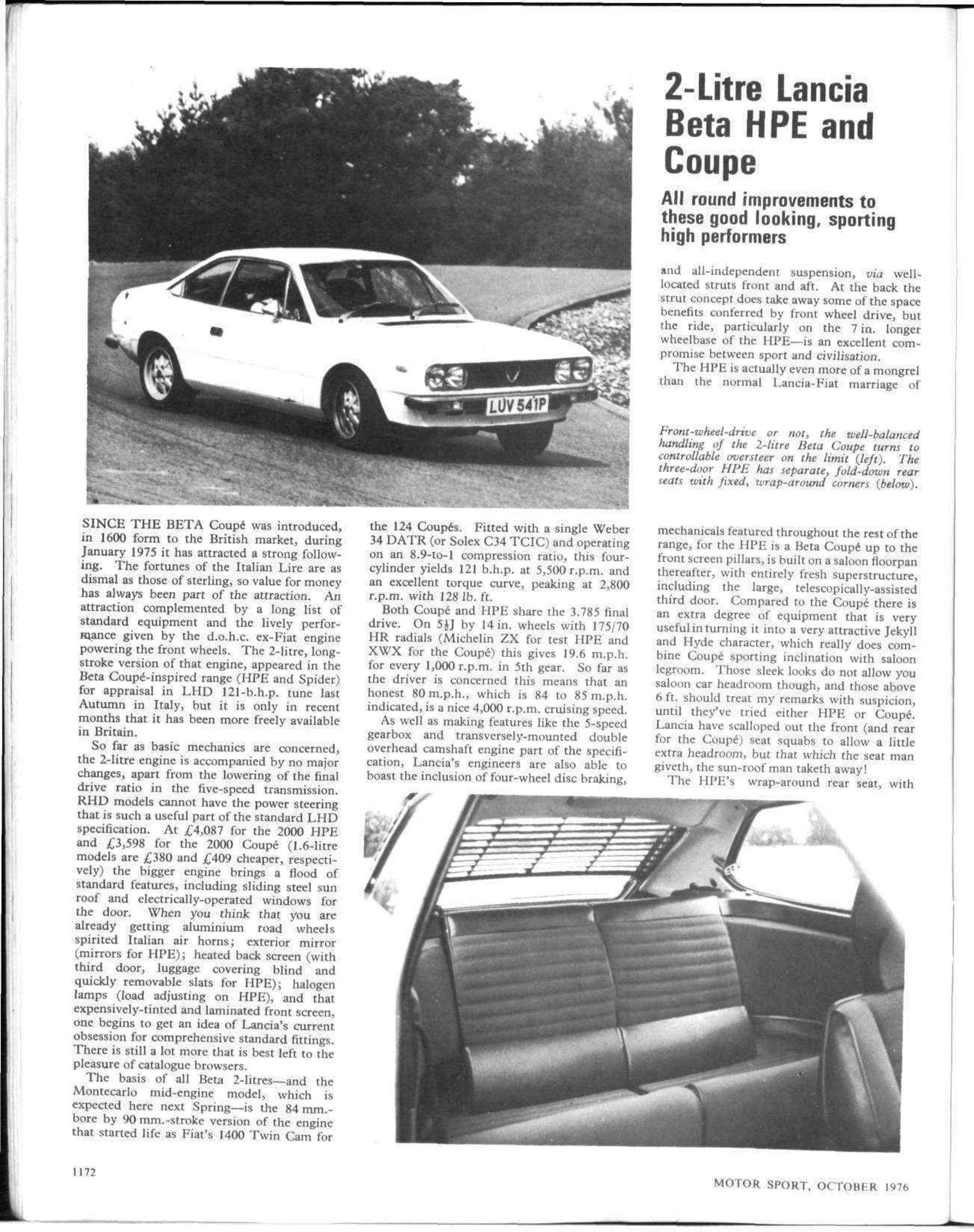2 litre lanica beta hpe and coupe motor sport magazine archive close vanachro Images