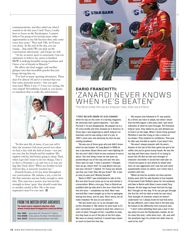 Dario Franchitti: 'Zanardi never knows when he's beaten' image