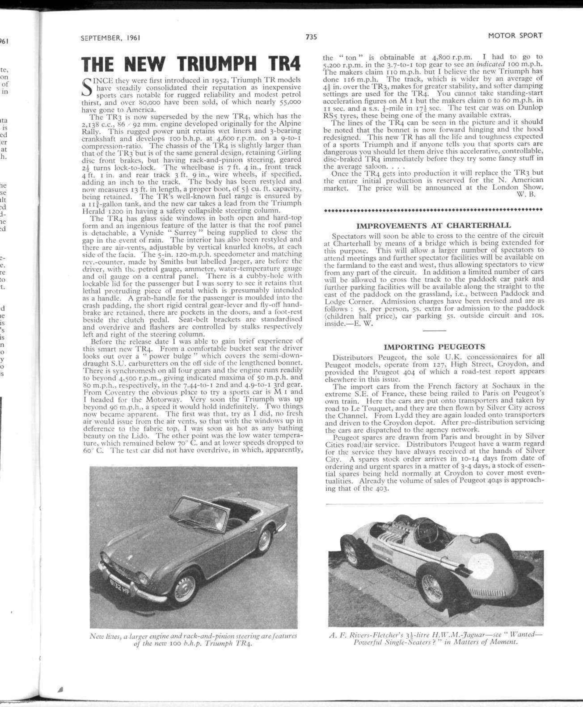 The New Triumph Tr4 Motor Sport Magazine Archive