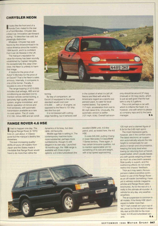 Range Rover 46 Hse Motor Sport Magazine Archive Land 4 6 Engine