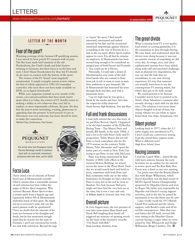 Letters | Motor Sport Magazine Archive