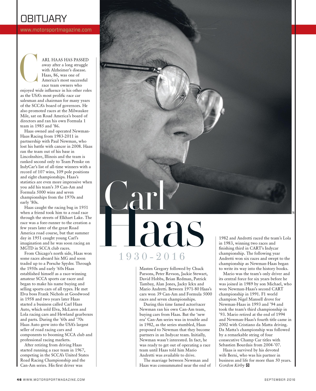 Carl Haas obituary image
